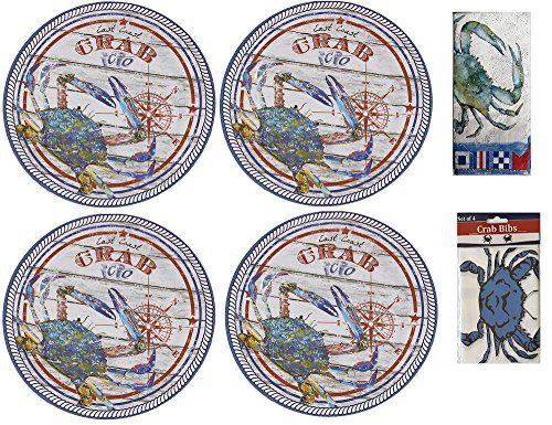 Blue Crab Melamine 4 Piece Dinner Plate Set with 20 Piece Buffet Paper Napkins and pack of 4 Disposable Plastic (Nautical Plastic Plates)