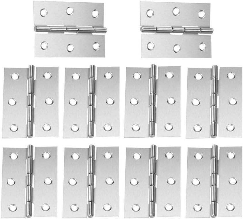IWILCS 10 PCS Bisagras de acero inoxidable a tope, Bisagras a tope para puertas internas, Bisagra de puerta de madera, Herrajes para muebles para el hogar Armario Bisagras de cajones