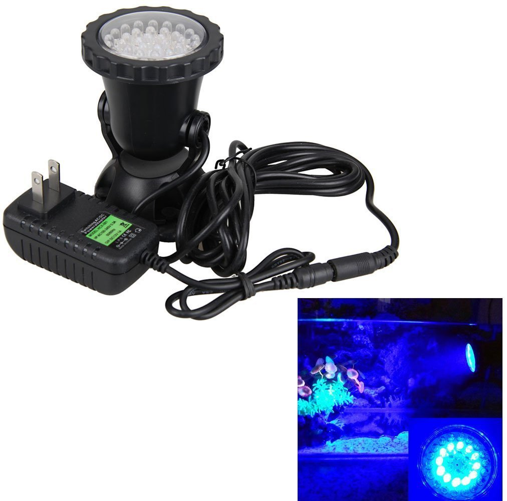 Gift Pro Waterproof IP68 Underwater Light 3.5W 36LED Submersible Underwater Spot Light, Best for Aquarium Fish Tank, Garden Fountain, Pond Pool (1 Set, Blue) by Gift Pro