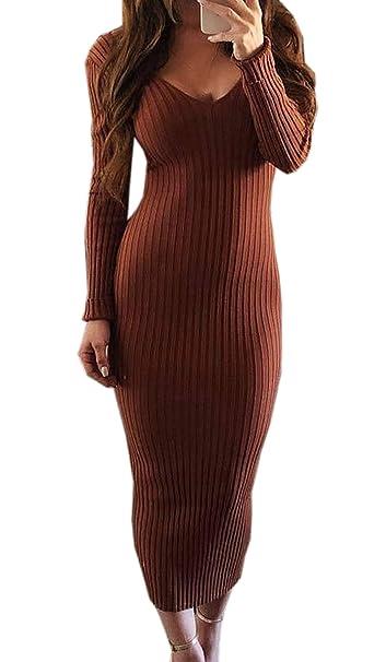 692b4b799a8b Simple-Fashion Donne Primavera Autunno Senza Schienale Maglioni Vestiti  Sexy Strette Lungo Abiti da Partito Club Festa Moda Sottile V Collo Manica  Lunga ...