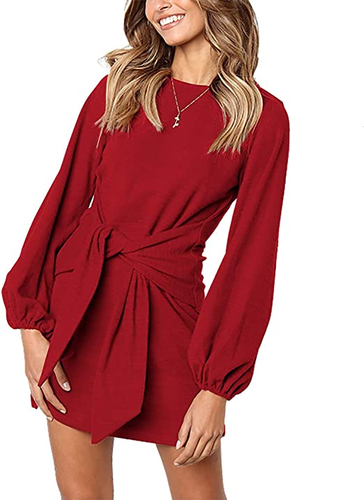 PRETTYGARDEN Women's Elegant Long Sleeve Short Dress Crewneck Tie Waist Knit Cocktail Dress at Amazon Women's Clothing store