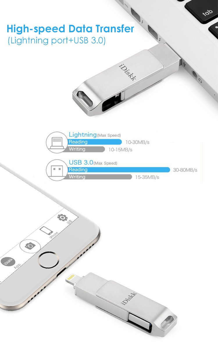iDiskk iPhone Flash Drive 256GB ipad External Storage Photo Stick for iPhone X XR XS Max and New ipad pro pc MacBook Jump Drive with Touch id encryption (2 Years Warranty) by iDiskk (Image #4)