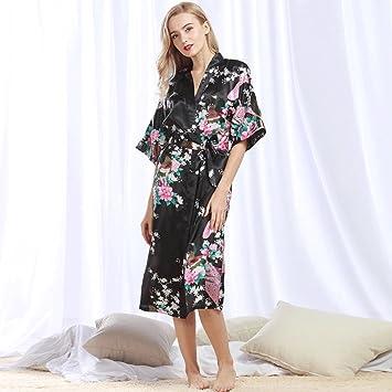 Albornoces ZHAOJING Seda y otoño de seda de mujer sexy camisón largo pijama verano batas de casa desgaste del hogar: Amazon.es: Deportes y aire libre