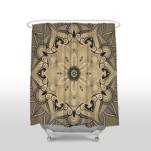 - Mandala shower curtains for bathroom,Mandala Style Eastern Medieval Arabesque Motifs Oriental Ethnic black-glod 36x72inch