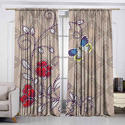 VIVIDX Insulated Sunshade Curtain,Batik,Flower Body with Curved Branch and Butterflies on Retro Background Graphic Print,for Patio/Front Porch,W55x45L Inches Multicolor