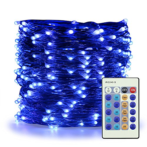 ER CHEN Blue Fairy Lights Plug In, 99ft 300 LED Starry String Lights Dimmable with Remote Control, Copper Wire Indoor/Outdoor Decorative Lights for Bedroom, Patio, Garden, Yard, Party