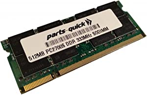 parts-quick 512MB Memory for Dell Latitude D505 parts-quick 512MB PC2700 DDR SODIMM Laptop RAM