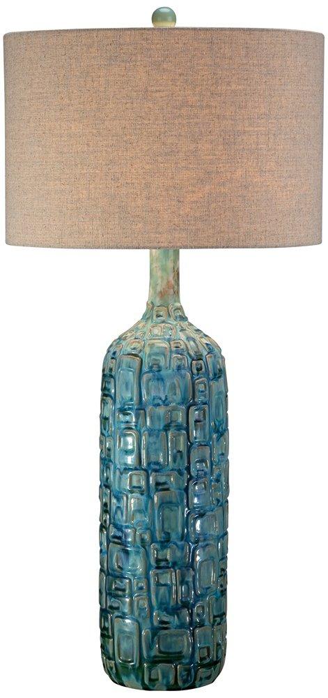 ceramic teal mid century table lamp by possini euro design amazoncom - Mid Century Lamp