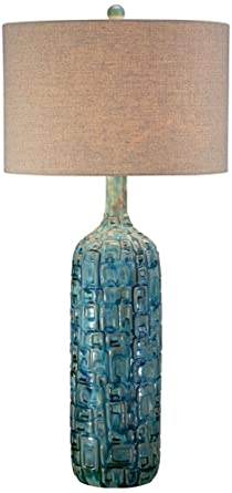 Ceramic Teal Mid Century Table Lamp By Possini Euro Design
