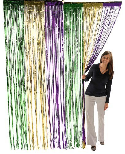 Fun Express Metallic Mardi Gras Fringe Curtains -