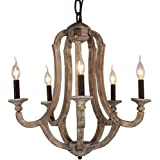 Docheer Cottage Vintage 5-Light Wood Metal Chandeliers Shabby Chic Chandelier Hanging Foyer Lighting for Home Decor Dinning Room, Bedroom, Living Room,