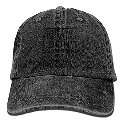 Sometimes I Use Words I Don't Understand So I Can Sound More Photosynthesis Unisex Denim Baseball Cap Adjustable Strap Low Profile Plain Hats Outdoor Casquette Snapback Hats Natural by jia3261