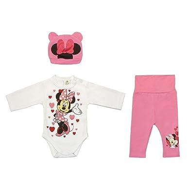 low priced 2cba5 ed0de Mädchen BABY-SET Minnie Mouse 3-teilig, Baby-Body mit Hose und Mütze in  GRÖSSE 56, 62, 68, 74, 80, Spiel-Anzug mit Druck-Knöpfen, Schlaf-Anzug ...