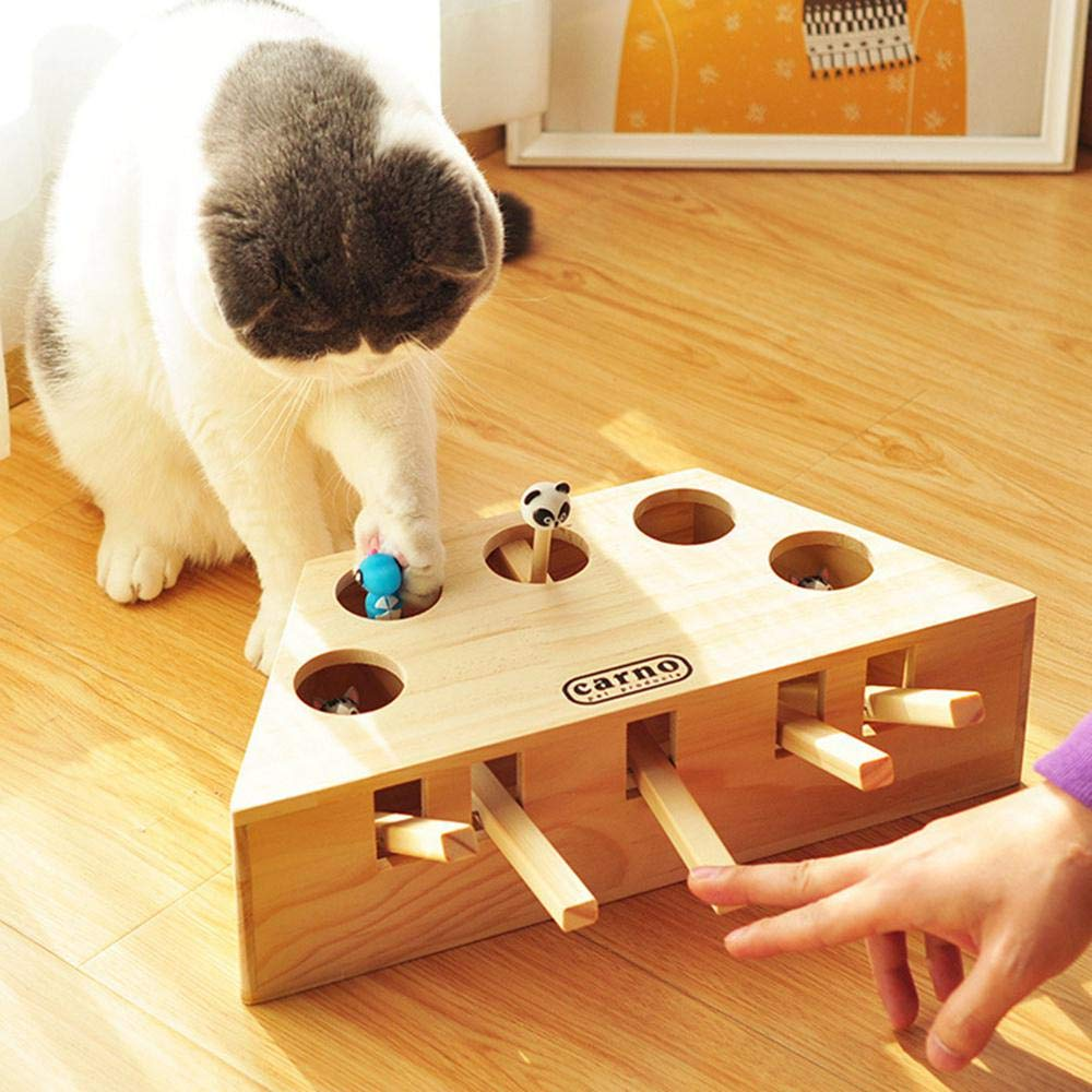 Volwco Cat Funny Toys Interactive Wooden Solid Whack A Mole Mouse Game Puzzle Toy by Volwco