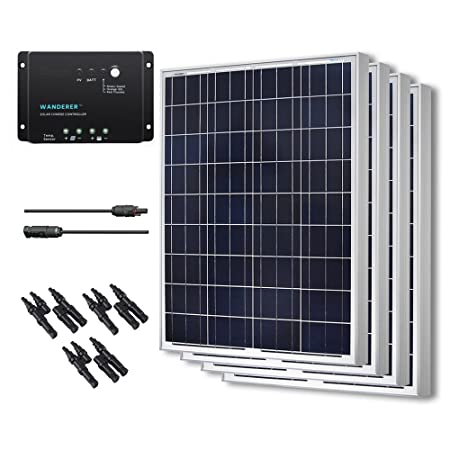 Renogy 400W Polycrystalline Bundle Solar Panel Kit with 4 packs 100W Solar Panels, Wanderer Li 30A PWM Charge Controller, Renogy 9in MC4 Adaptor Kit and Solar MC4 Branch Connectors MMF FFM