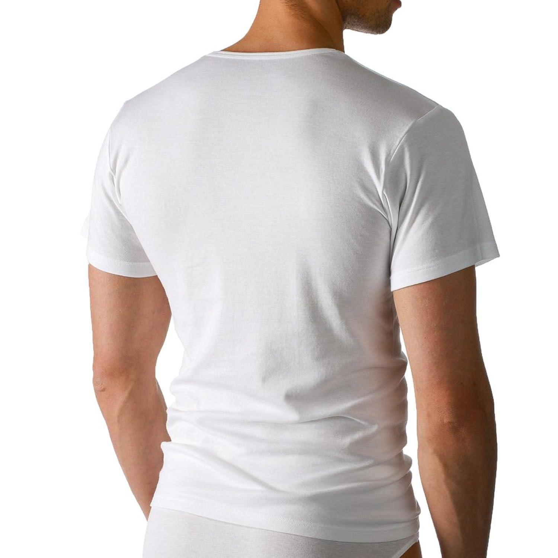 2er Pack Mey Herren Shirts - 2806 Noblesse - Unterhemd ohne Seitennähte -  Tops in Feinripp Qualität - Business-Unterhemden für Männer - Weiß - Größe  5 (M) ...