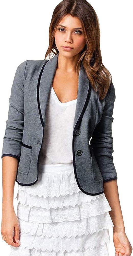 Malihcr Women Office Short Paragraph Blazer Suit Tops Slim Outwear-Dark Gray