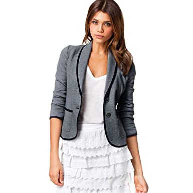 SOMESUN Short Lapels Small Blazer Women Office Lady Coat Blazer Suit Long  Sleeve Tops Slim Jacket Outwear  Amazon.co.uk  Clothing 765d0f3187c