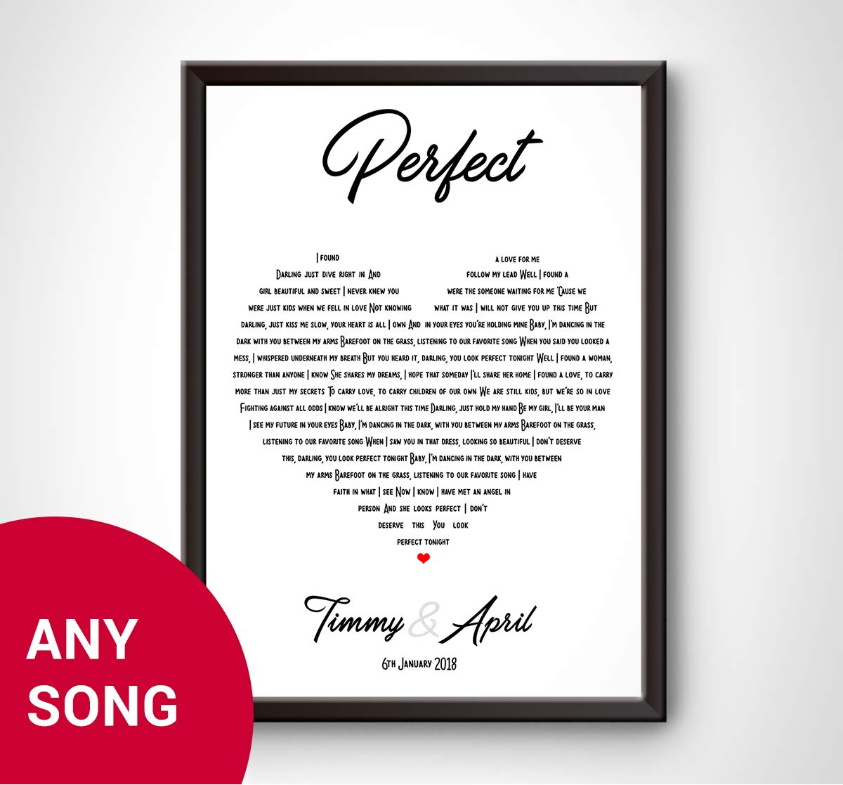 d389552038a Personalised Song Lyrics Wall Art Print - ED SHEERAN - PERFECT - The  perfect gift idea for wedding, first dance, love song, anniversary,  engagement, ...