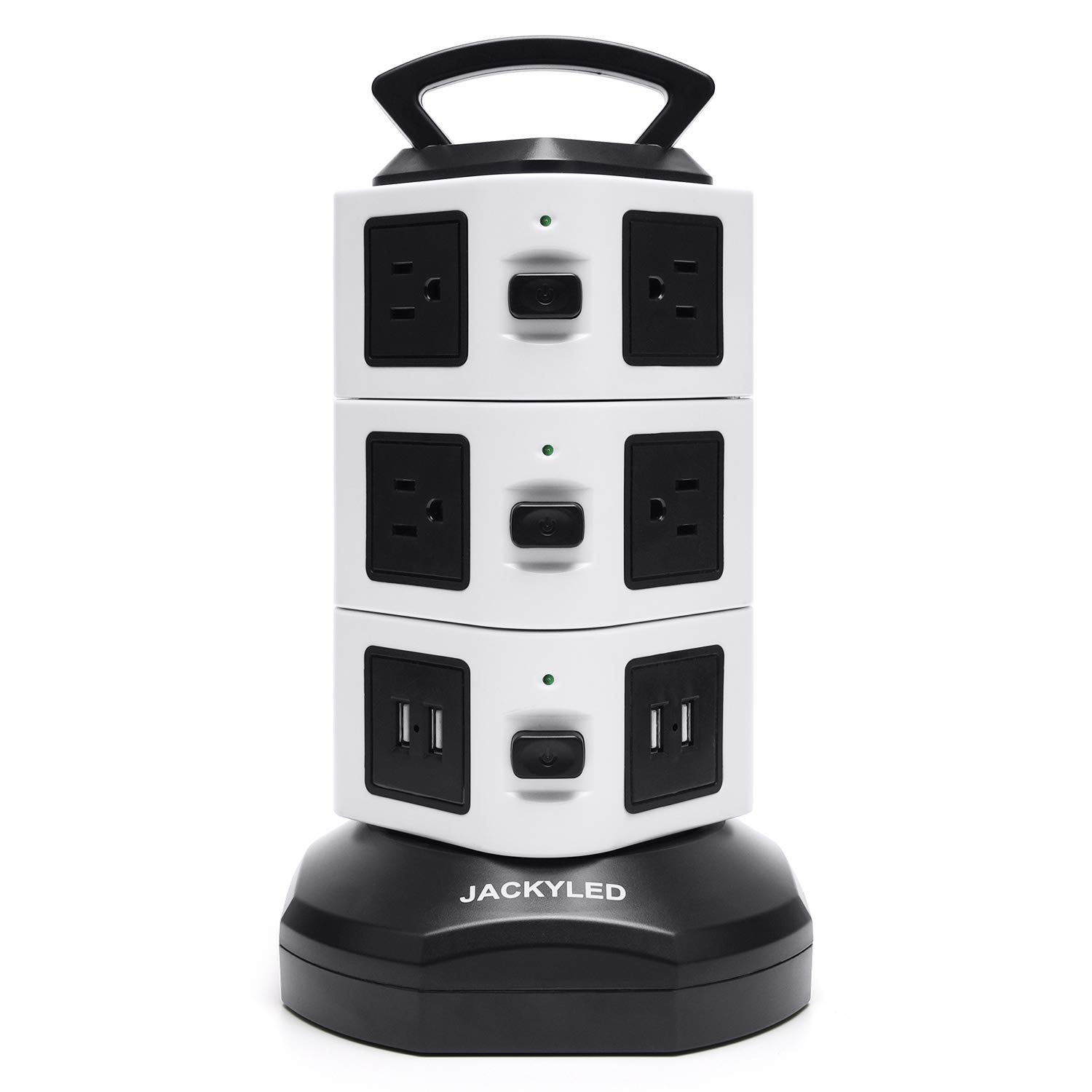 Power Strip Tower JACKYLED Surge Protector Protected Door Electric Charging Station 3000W 13A 16AWG 10 Outlet Plugs with 4 USB Slot + 6ft Cord Wire Extension Universal Socket for PC Laptops Mobile