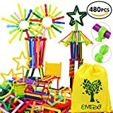 EMIDO 480 Pcs Building Toy Building Blocks Bars Different Shape Educational Construction Engineering Set 3D Puzzle , Interlocking Creative Connecting Kit, A Great STEM Toy for Both Boys and Girls!