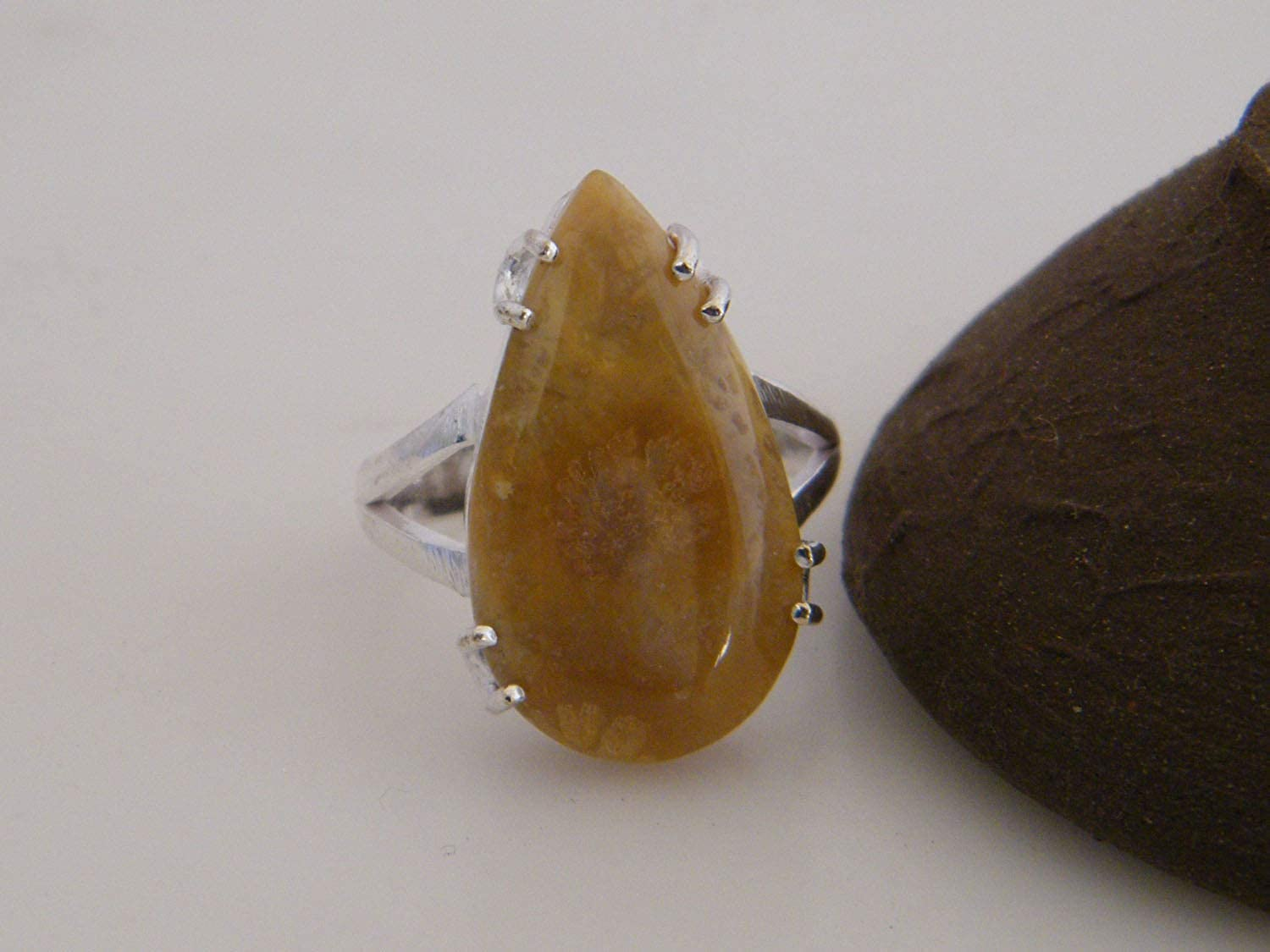 Silver Plated Ring Handmade Designer Ring, AH-13084 Surbhi Crafts Fossil Coral Ring Ring Size 8.5 USA