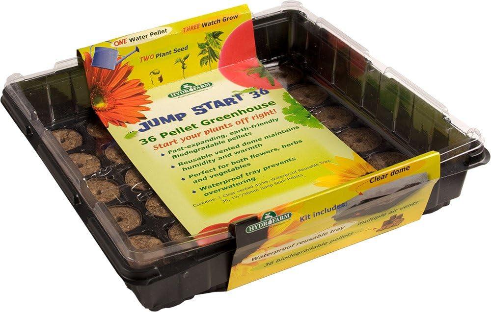 Hydrofarm Jumpstart JS36GH 36-Pellet Indoor Seed Start Greenhouse, Count, Black