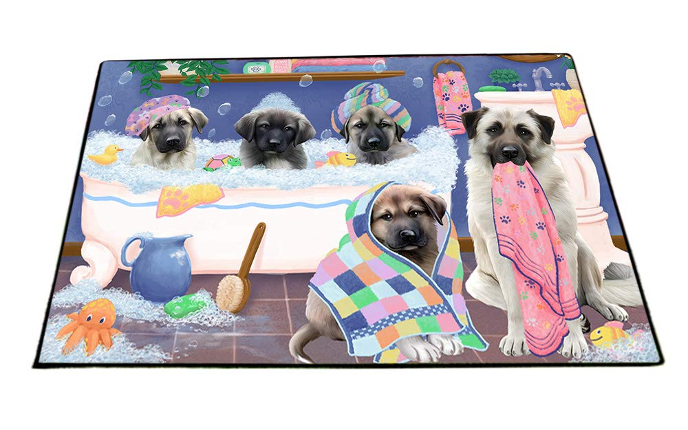 Rub A Dub Dogs In A Tub Anatolian Shepherds Dog Floormat FLMS53445 (18x24) by Doggie of the Day