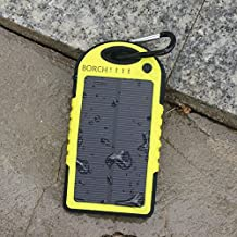 Borch Solar Portable Battery Charger 5000mah Power Bank and Travel Charger. Utilizing Both Solar And/or Electrical Energy to Fully Charge Wireless Devices on the Go. Shockproof, Dustproof & Rainproof Provides the Freedom to Travel Anywhere with the Borch Solar Power Charger. External Battery Pack Compatible with Iphone 6 5.5 4.7 Inch 5s 5c 5 4s 4, Ipad Air, Other Ipads, Ipods(apple Adapters Not Included), Samsung Galaxy S5, S4, S3, Note 3, Note 4 Galaxy Tab 3, 2, Nexus 4, 5, 7, 10, HTC One, One 2 HTC One M8 ,Motorola Atrix, Droid , Lg Optimus, Most Kinds of Android Smart Phones and Tablets,windows Phone, Gopro Camera and More Other Kindle, Nook, and All Standard USB 5v/1a Devices. (Yellow)