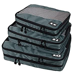 BAGSMART Travel Packing Cube (Small-Large 3 Piece) for Carry-on Travel Accessories, Suitcase and Backpacking (Double Compartment, Grey)