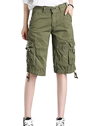 5afff84368 HOW'ON Women's Casual Loose Fit Twill Bermuda Cargo Shorts Multi Pocket  Straight Shorts Army