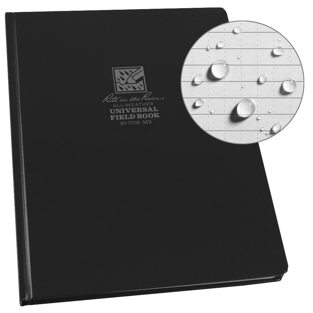 Rite in the Rain Weatherproof Hard Cover Notebook, 8.75'' x 11.25'', Black Cover, Universal Pattern (No. 770F-MX)