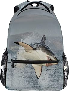 Oarencol Great White Shark Carcharodon Carcharias 3D Sea Animal Cool Fish Backpacks Bookbags Daypack Travel School College Bag for Womens Girls Mens Boys Teens