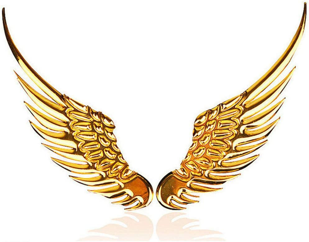 Golden 2pcs 3D Angel Wings Emblem Auto Car Badge Decals Styling Logo Stickers Motorcycle Accessories Label for Jeep Dodge Mercedes BMW Mustang Volvo Chevrolet Nissan Audi VW Ford Honda Toyota Jaguar Decorative Accessories