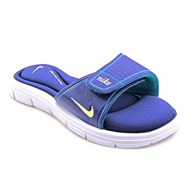 673caca18 New Nike Comfort Slide Blue Yellow Ladies 5