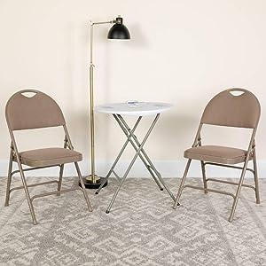 Flash Furniture HERCULES Series Ultra-Premium Triple Braced Beige Fabric Metal Folding Chair with Easy-Carry Handle