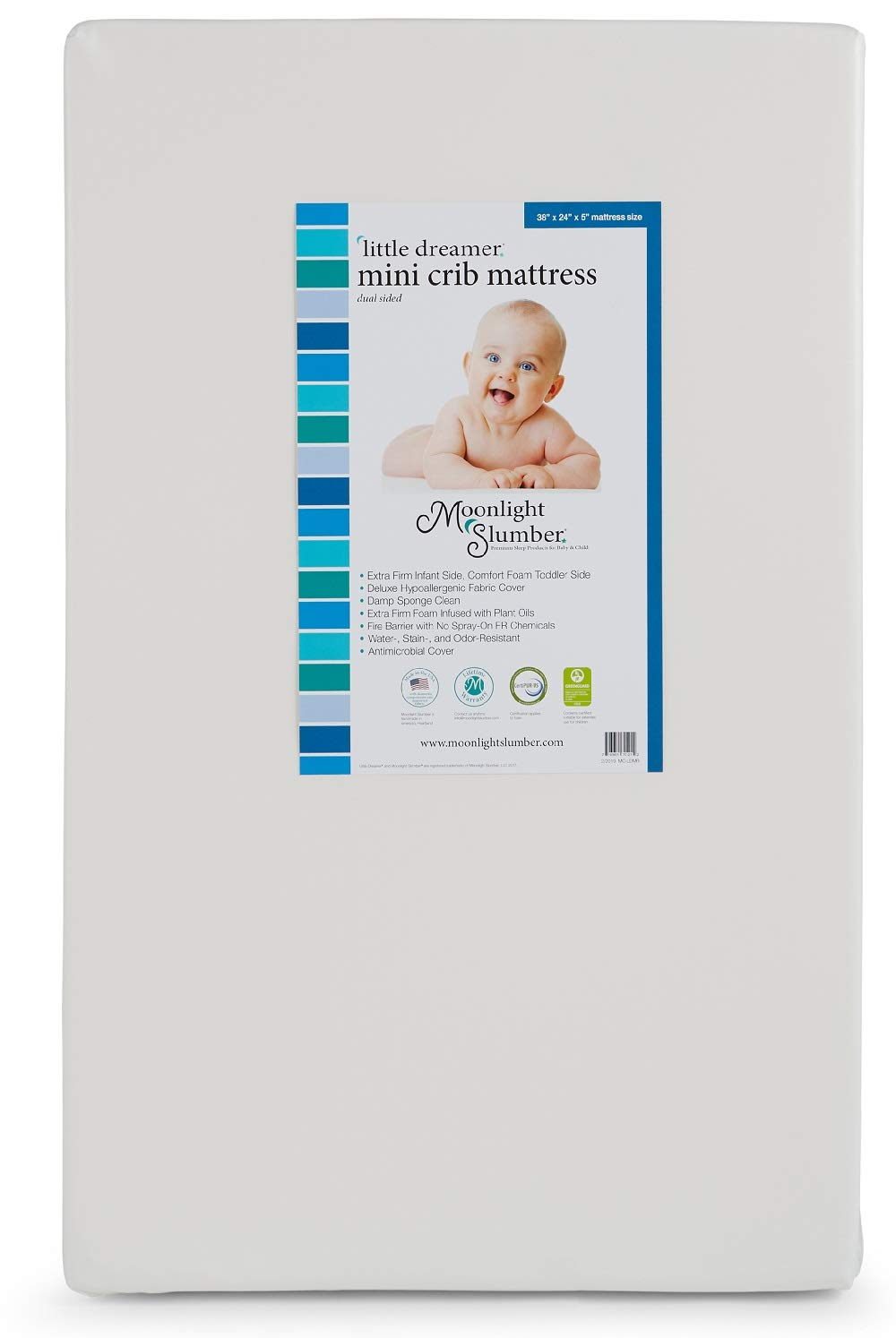 Moonlight Slumber Mini Little Dreamer Crib Mattress. Dual Sleep Surface - Water Resistant and Hypoallergenic Mini Mattress with Extra Firm Infant and Plush Toddler Sides (38x24x5 in.)