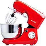 QIHANG-UK Electric Stand Mixer 800W for Baking Cake Mixer Kitchen Food Mixer with 5.5L Bowl Beater Whisk Dough Hook Splash Guard (Red)