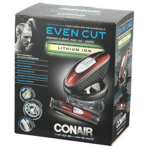 Conair Even Cut Rotary Hair Cut Cutting System; Lithium Ion with Bonus Trimmer; Red by Conair (Image #2)