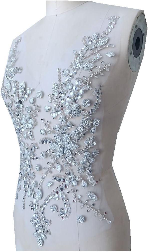 Handmade Rhinestone Silver Wedding Dress //Dance Sew-on Applique