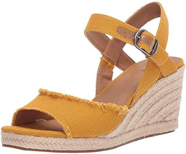 DOLDOA Sandales Compensees Femme été Jaune Chaussures Femme Compensées Rouge Espadrilles Compensees Femme de Confortable Sandales Bout Ouvert Femme de