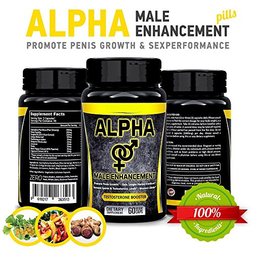 Natural Alpha Male Enhancement Pills - Penis Enlargement & Sex Performance Vegetable Cellulose Capsule - Testosterone Booster Big Dick in Less Than 1 Month - by Herbal Fantasy (Performance Pill Male Enhancement)