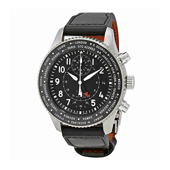 IWC Piloto Negro Dial Automático Mens Reloj GMT iw395001