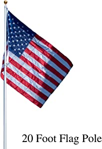 Titan Telescoping Flag Poles, Silver 20ft- Heavy Duty Aluminum Flag Pole Kit, Kit Includes, Telescoping Flagpole, Hardware to Hang 2 Flags, 4 x 6 American Flag, and Installation Instructions