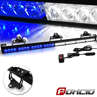 FOXCID 32 LED Emergency Warning Traffic Advisor 13 Modes Vehicle LED Strobe Light Bar with Large Suction Cups and Cigarette Lighter White Blue: Automotive