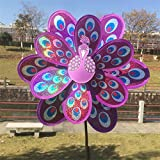 Hunulu Double Layer Peacock Laser Sequins Windmill Colorful Wind Spinner Kids Toy (purple)