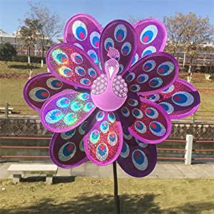 wifun doble capa pavo real lentejuelas molino Colorful Wind Spinner Kids Toy