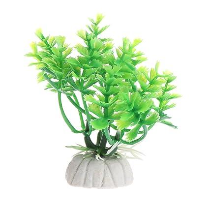 Dabixx Adornos de hierba de acuario para decoración de acuarios, color verde y blanco