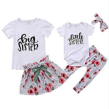 02b0255c56944 WENBIAO Big Sister Little Sister Matching Outfit Big Sister T-Shirt Little  Sister Romper Floral Print Skirts Pants