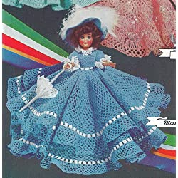 """Vintage Crochet PATTERN to make - 8"""" Doll Clothes Dress Hat Umbrella Petticoat Panties. This is a pattern and/or instructions to make the item only."""